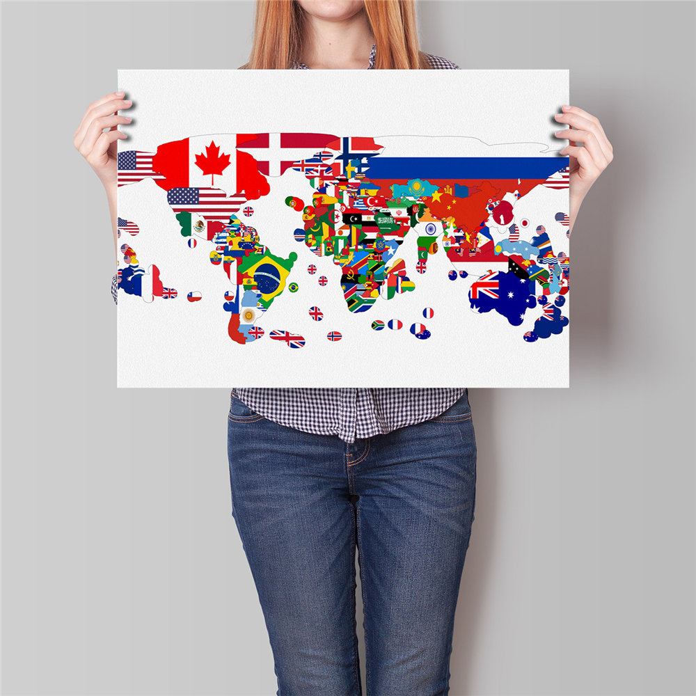 Free ship world map paper painting flag country map modern poster free ship world map paper painting flag country map modern poster home bar cafe pub restaurant wall art sticker no frame 42x30cm gumiabroncs Image collections