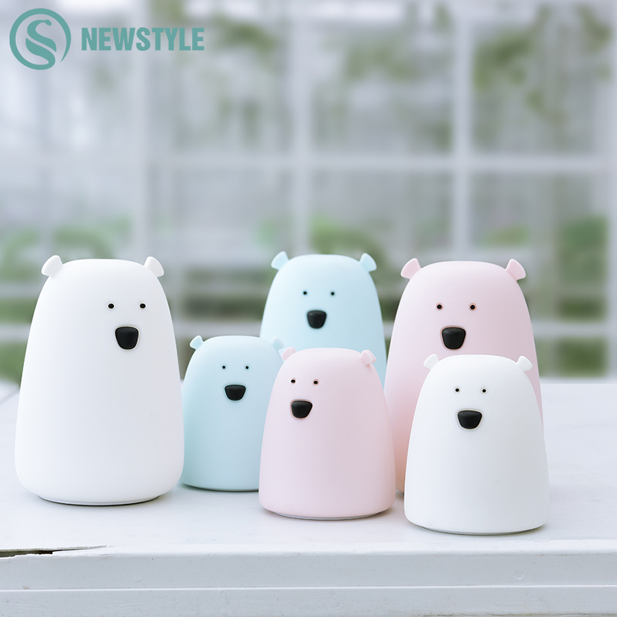Children Baby Bedroom Night Lamp Cute Bear Silicone LED Night Light Color Changing LED Bedside Light for Children Kid Toy Gift decorative cartoon bear led night light silicone white bedside night lamp for children baby christmas birthday gift