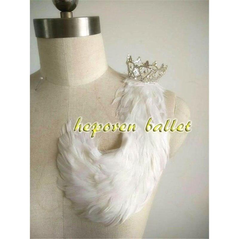 Lac des cygnes fait à la main Ballet blanc plume chapeaux avec couronne danse Solo, Prince blanc oiseau couronne ornement vente au détail en gros
