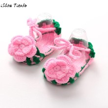 Baby First Walkers Princess Handmade Crochet Crib Casual Baby Shoes Knitting Sock Clip Toe Infant Shoes Tenis Led #1104(China)