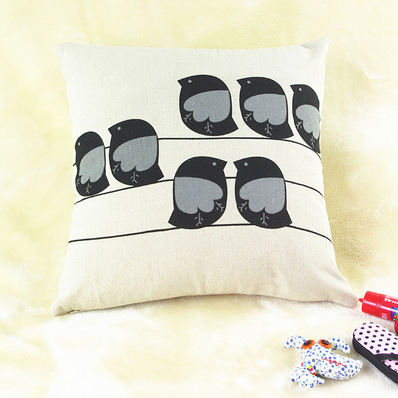 1PC Cute 7 Owl birds pillowcase slip Cartoon vintage animal Throw cushion case home decal pillow cover drop shipping on sale