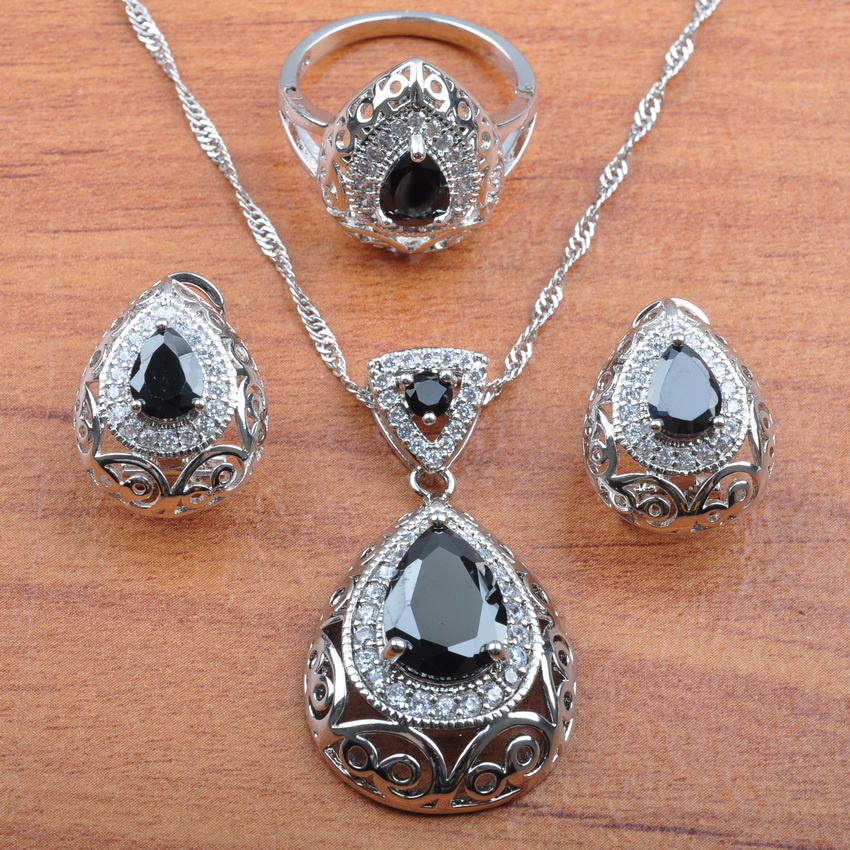 925 Silver Jewelry Set Natural Australian Crystal Black Stone For Women Wedding Jewelry Earring Ring Pendant Sets JS212