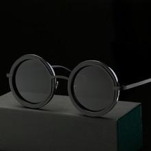 2017 vintage retro gothic steampunk gafas de sol de espejo círculo gafas de sol redondas de la vendimia hombres gafas de sol UV400 Templo Polarizado