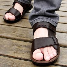 New 2015 summer genuine leather size(38-44)black+brown+light brown breathable men's sandals fashion beach shoes men's flats