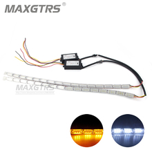 2x Car DRL Flexible Blanco/Ámbar Secuencial Del Faro Switchback LED Knight Rider Luz de Tira DRL Señal de Vuelta Flasher Impermeable