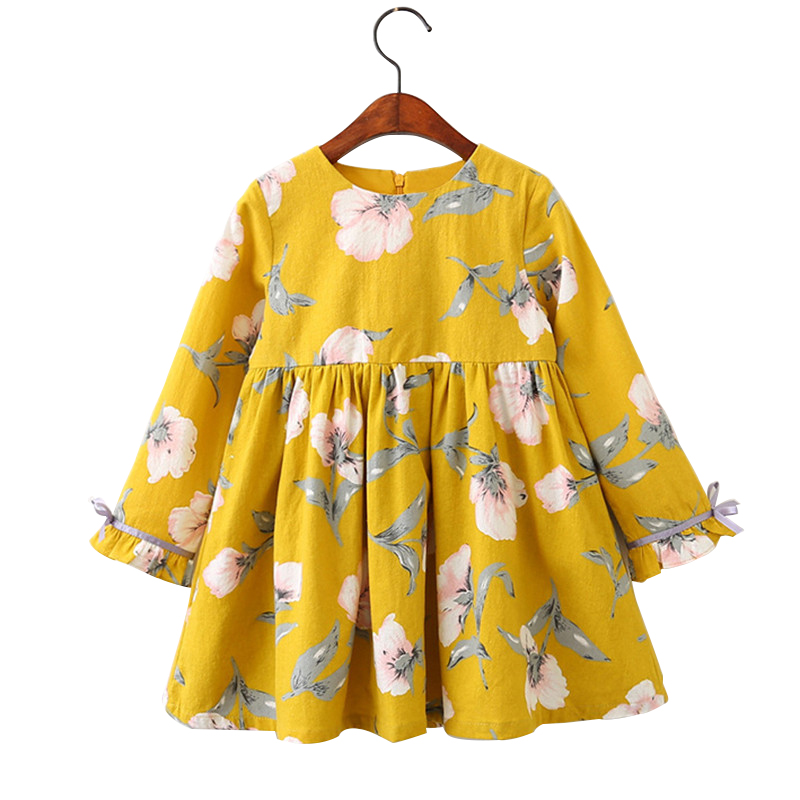 3 4 5 6 7 8 9 Year Girls Dress 2018 New Long Sleeve Summer Autumn Kids Dresses for Girls Flower Children Princess Clothing children baby summer dress girl dress fashion long sleeve princess dance dresses for kids 3 4 6 8 10 12 yeas old 63