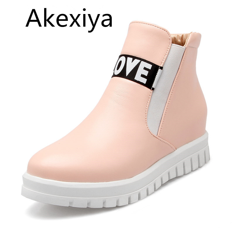 Akexiya Casual Women Boots 2017 Slogan Platform Shoes Woman Autumn Winter Ankle Boots Creepers Slip On Flats Plus Size 35-43 phyanic crystal shoes woman 2017 bling gladiator sandals casual creepers slip on flats beach platform women shoes phy4041