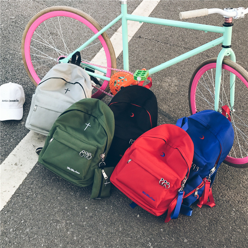 Korean Both Shoulders Package Personality Soft Sister Backpack Woman High School Living A Bag Crescent Moon Package Send Packet