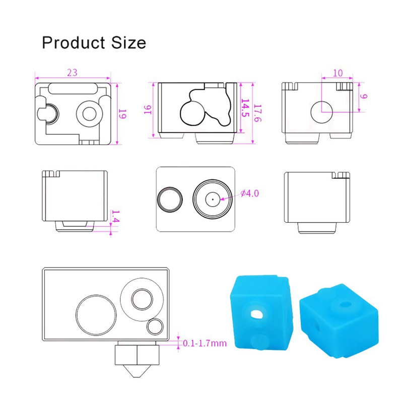 E3D 3D Printer Heater Block Silicone Cover Thermal Protection Silicon Socks For E3D V6 Hotend And E3D 0 4Mm Extruder Nozzle in 3D Printer Parts Accessories from Computer Office