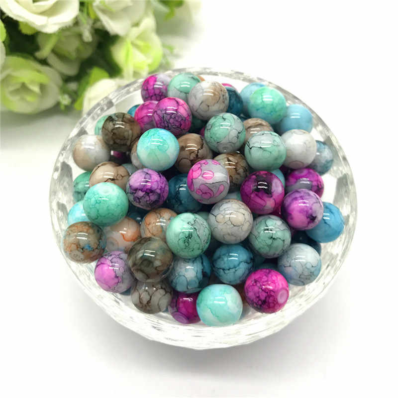 Wholesale 6 8 10mm pattern glass bead spacer jewelry Bulk Beads For DIY Making Bracelet Necklace Jewelry #11