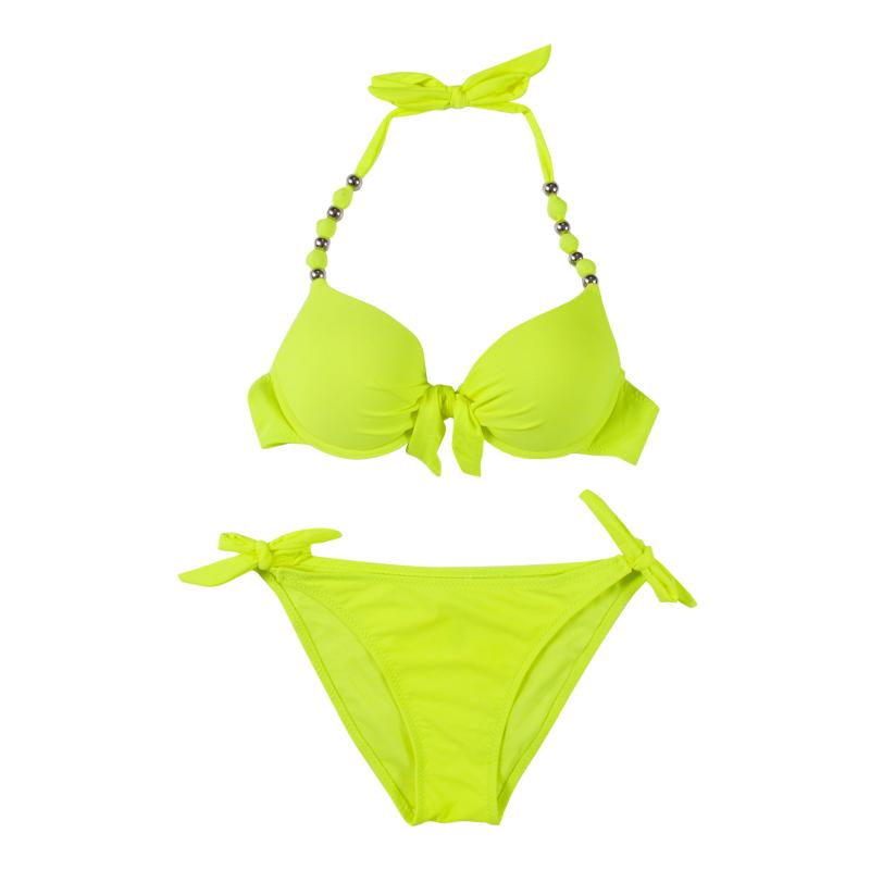 Bikini push up triangle swimsuit swimwear women bikinis set pants side lacing high elastic 19 8