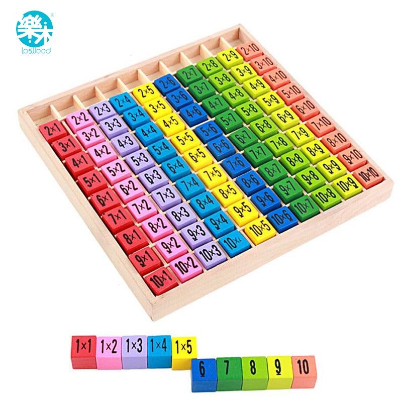 Baby holz Spielzeug 99 Vermehrung Tabelle Mathematik Spielzeug 10*10 Abbildung Blöcke Baby lernen Pädagogisches montessori geschenke freies verschiffen
