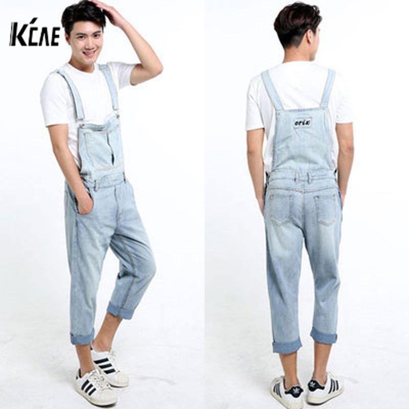 ФОТО 2016 New Brand Men Denim Overalls Shorts Vintage Ligh Blue Washed Plus Size S-5XL Jeans BiB Overalls Jumpsuits