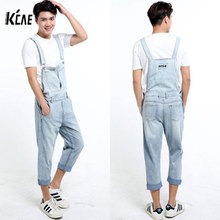 2016 New Brand Men Denim Overalls Shorts Vintage Ligh Blue Washed Plus Size S-5XL Jeans BiB Overalls Jumpsuits