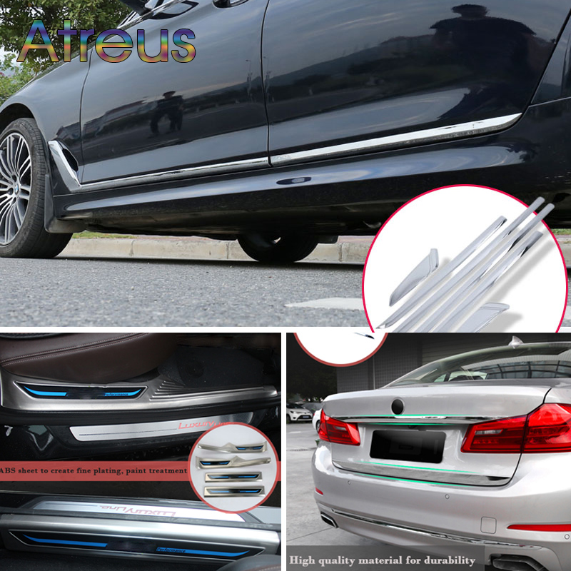 Atreus pour BMW série 5 2018 BMW G30 bande de seuil de voiture pédale queue de porte protecteur de corps autocollants couverture M accessoires d'alimentation