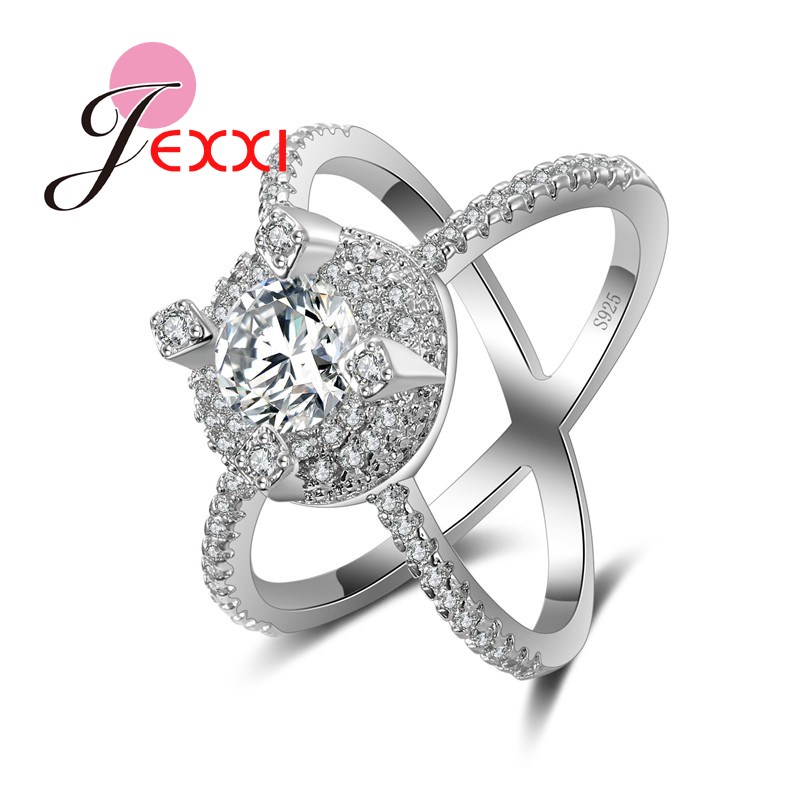 JEXXI New Creative Design Double Circle Cross Rhinestone Crystal Women Personality Finger Rings Fashion 925 Stamp Silver Jewelry
