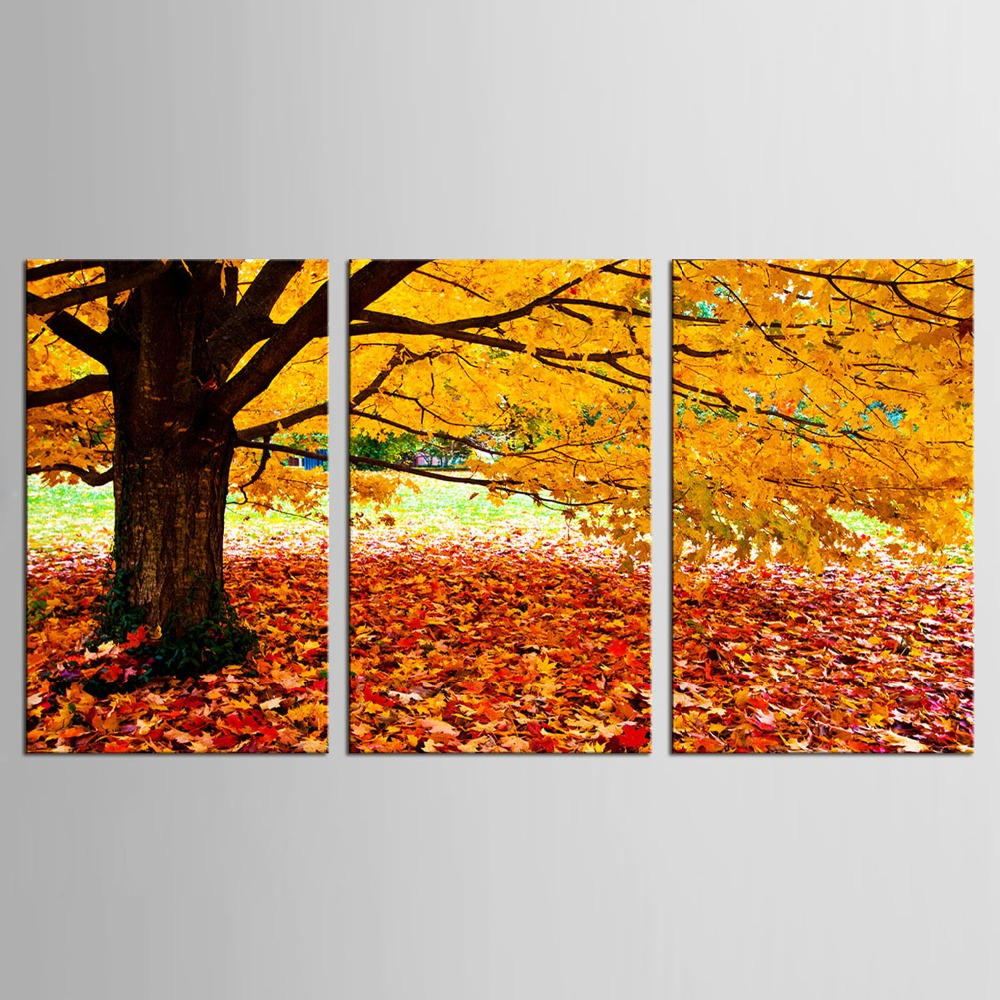 3 Panel wall art Maple Tree Painting Modern Art Picture ...