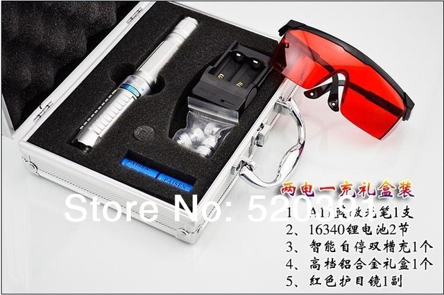 high power AAA  blue laser pointer 100000mw 100w 450nm burning match/dry wood/candle/black/cigarettes+5 caps+glasses+charger+box
