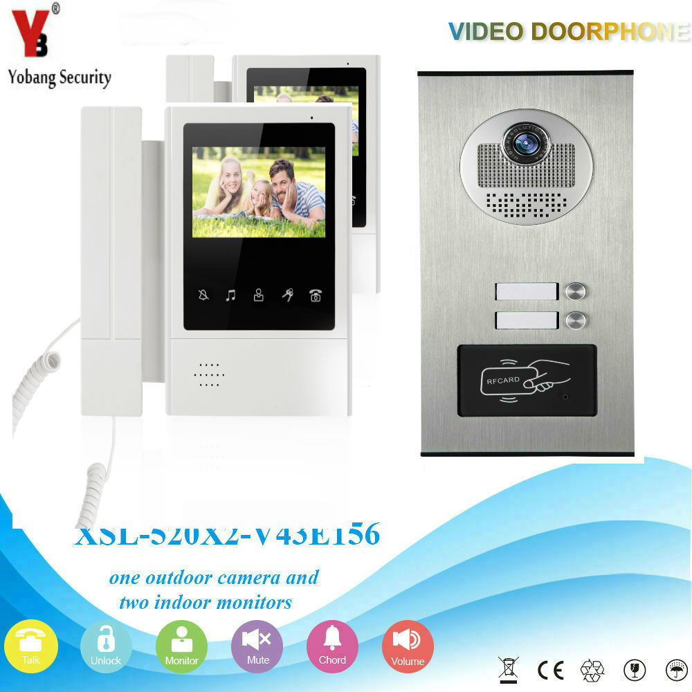 YobangSecurity 4.3 Inch Color Video Door Phone Doorbell Camera Entry Intercom System RFID Access Control For 2 Unit Apartment jeruan apartment 4 3 video door phone intercom system kit 2 monitor hd camera rfid entry access control 2 remote control