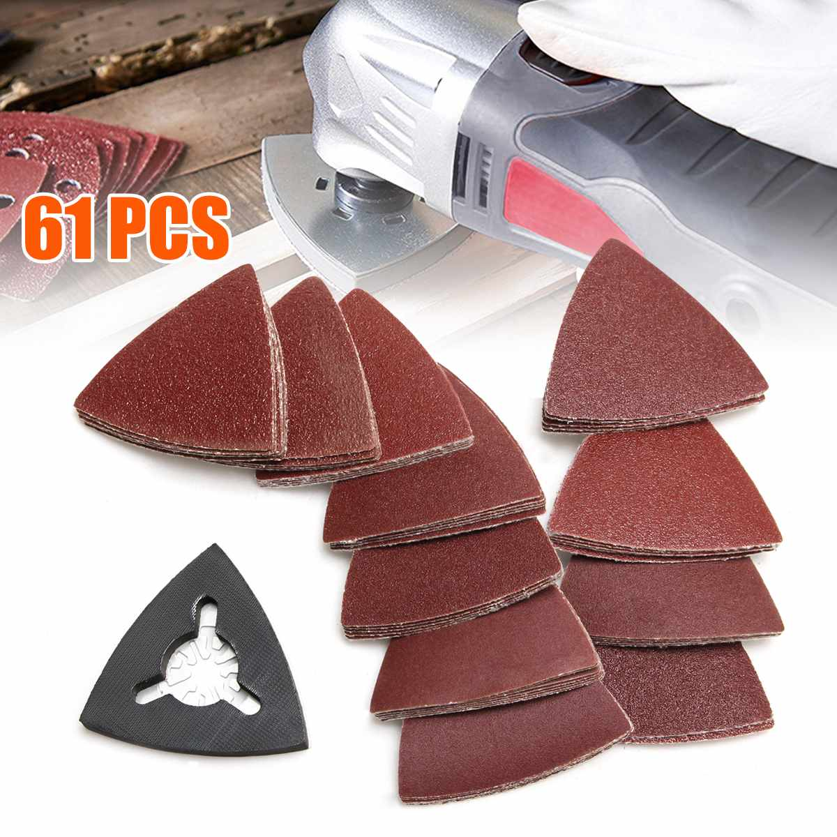Doersupp Hot Sale 61pcs 80mm 40/60/80/120/180 Grit Triangular Sand Paper Set Abrasive Tools Multitool Oscillating Tools