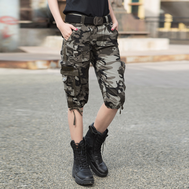 Summer Women's Tactical Army Camouflage Straight Knee Length Short Trousers Outdoor Female Hiking Climbing Capris Cargo Shorts