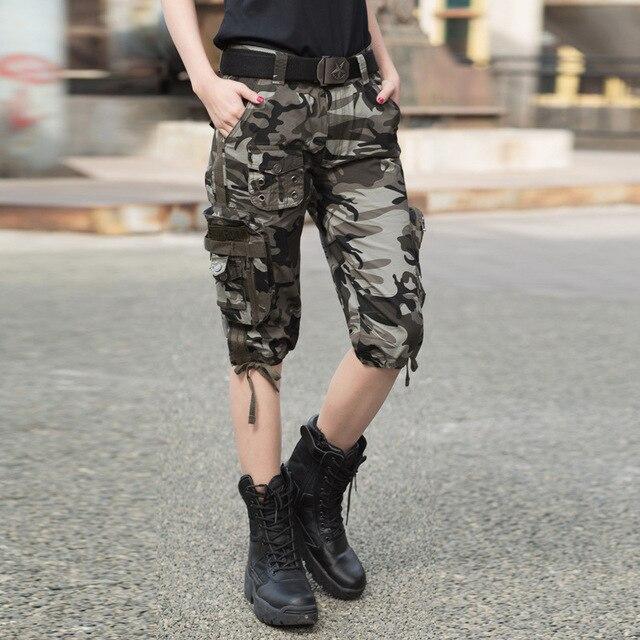 Camouflage Korte Broek Dames.Zomer Vrouwen Tactische Leger Camouflage Rechte Knielengte Korte