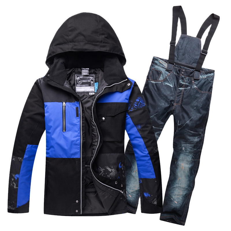 Mens snow suit Thermal Padded Cotton Ski Jackets and Bib Trousers set Winter Skating Hiking Camping Skiing Clothing Windproof 2016 winter boys ski suit set children s snowsuit for baby girl snow overalls ntural fur down jackets trousers clothing sets