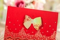 50pcs/lot High Quality 180*125mm Wedding Dress Bow Invitation Cards Celebration/Party Invitation Cards Wedding Favor Decor