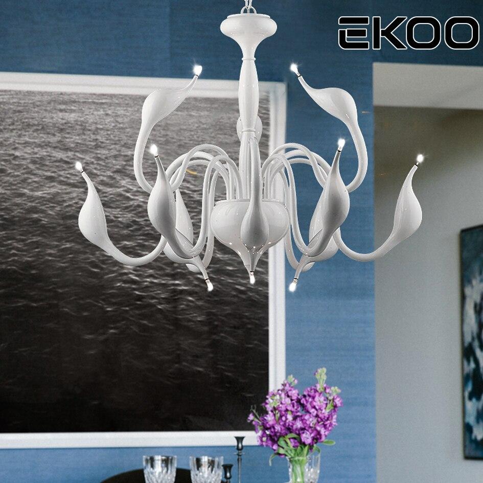 Экоо G4 современный лебедь люстра со светодиодами, живущих 6/9/12/18 огни для вилла лобби комнаты освещение