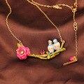 Francês Les Nereides azul Tits aves ramo da flor colar colar de mulheres camisola marca de jóias