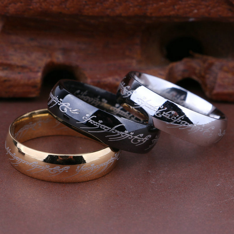 1 pieces lot 100 Titanium Ring Men Wedding band rings woman Classic Engagement Ring Gold