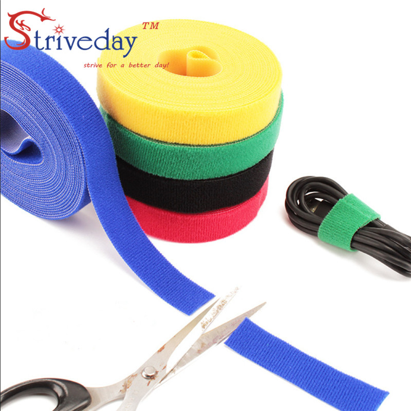 5 Meters/roll Width 2 cm magic sticker nylon cable ties velcroe reusable wire management 6 colors to choose