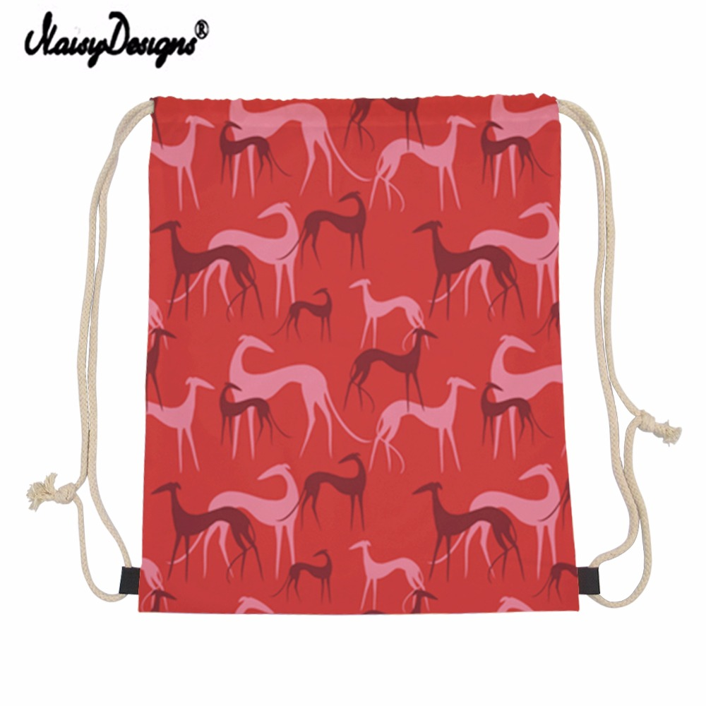 Noisydesigns 2020 Greyhound Dogs Drawstring Bag Children Backpacks For Teenager Girls Small Storage Bags Dropshipping Mochila