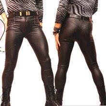 מט PU פאנק סגנון מכנסי עיפרון פו עור גבוה אלסטי הדוק מכנסיים גברים מבריק משיי סקיני צועד שלב בר להראות מכנסיים