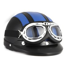 Hot Sale Motorcycle Helmet Scooter Open Face Half Leather Motor Helmet with Visor UV Goggles Retro Vintage Style for Security