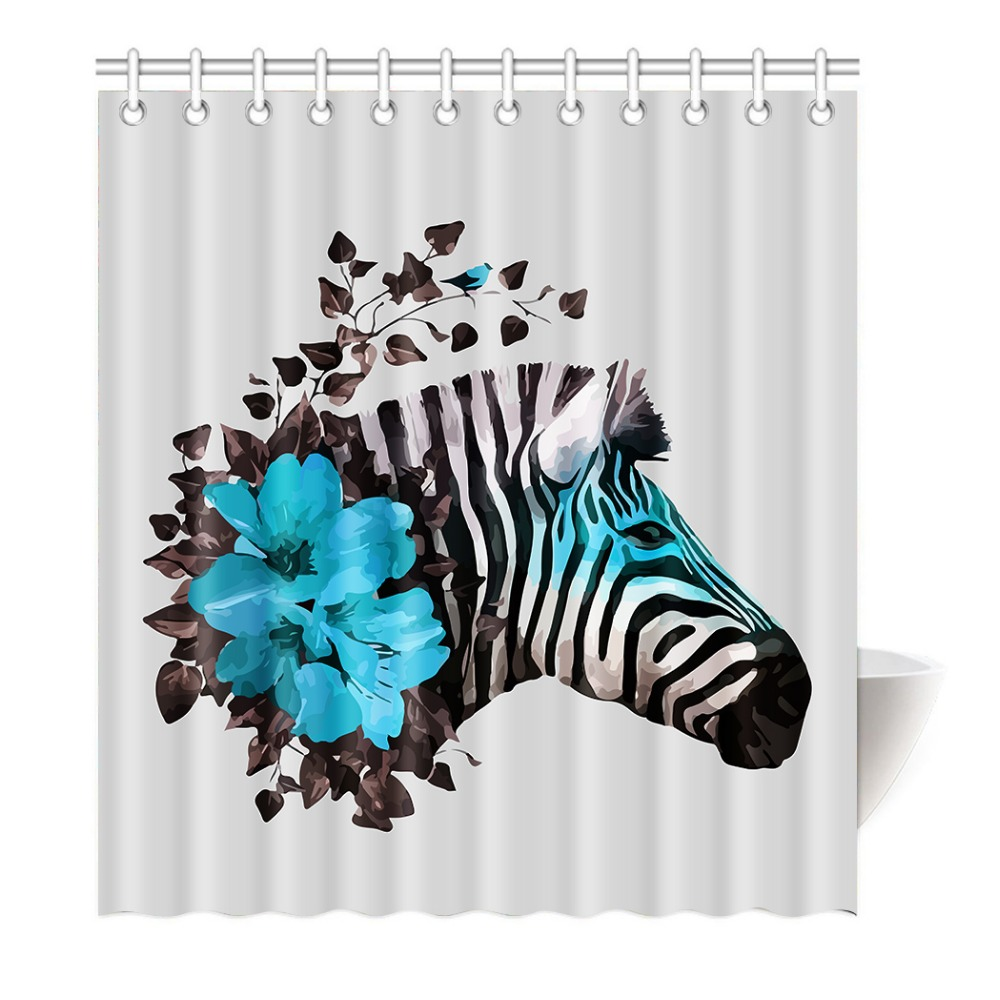 Black and white hand painted white horse and blue flowers shower black and white hand painted white horse and blue flowers shower curtain printing waterproof mildewproof polyester fabric bath in shower curtains from home dhlflorist Images