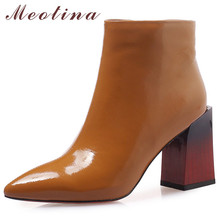 Meotina Winter Genuine Leather Ankle Boots Women Zipper Block High Heels Short Boots Cow Leather Ladies Shoes Autumn Size 34-39 цены онлайн