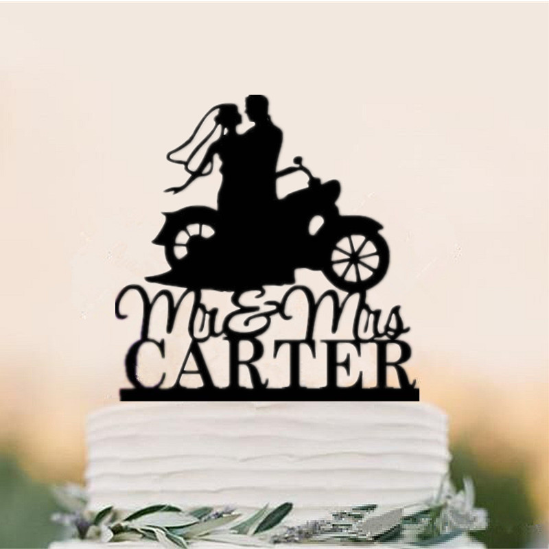 Mr Amp Mrs Motorcycle Couple Wedding Cake Toppers