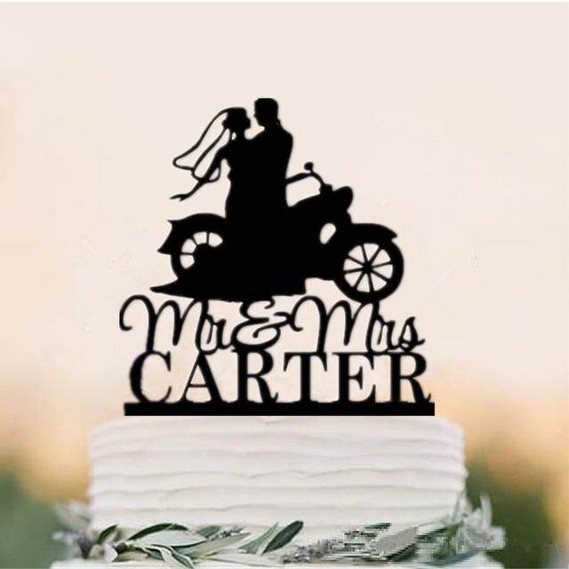 Mr Mrs Motorcycle Couple Wedding Cake Toppers Personalized With Last Name For You Free Shipping