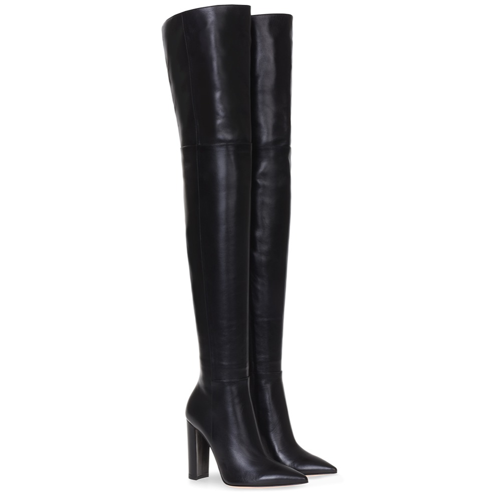 Fashion Over The Knee Woman Boots Nude Leather  Thick High Heels Thigh Woman Boots Black Nightclub Dress Shoes Big Size 34-45Fashion Over The Knee Woman Boots Nude Leather  Thick High Heels Thigh Woman Boots Black Nightclub Dress Shoes Big Size 34-45