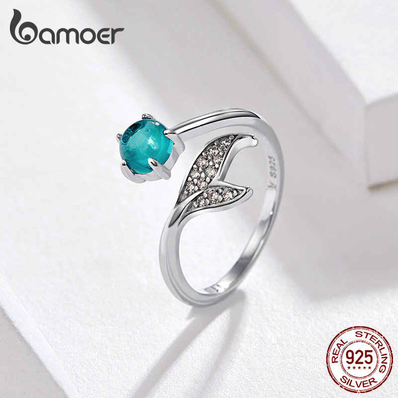 BAMOER Mermaid Ring 925 Sterling Silver Blue Ocean Stone Tear Fish Tail Rings for Women Open Ajudstale Ring Jewelry SCR515