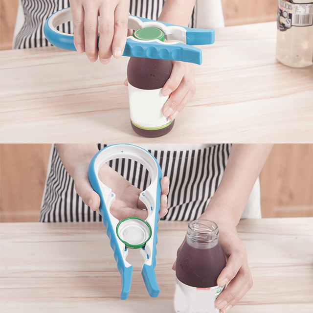 Multi-function 4 in 1 Bottle Opener Gadgets for Different Size  Jars Bottles Can Opener Kitchen Tool versatile dining utensil