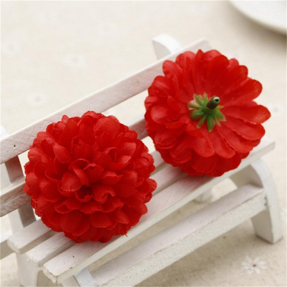 Chenap 50pcs Silk Artificial Carnation Pompom Flowers Head For