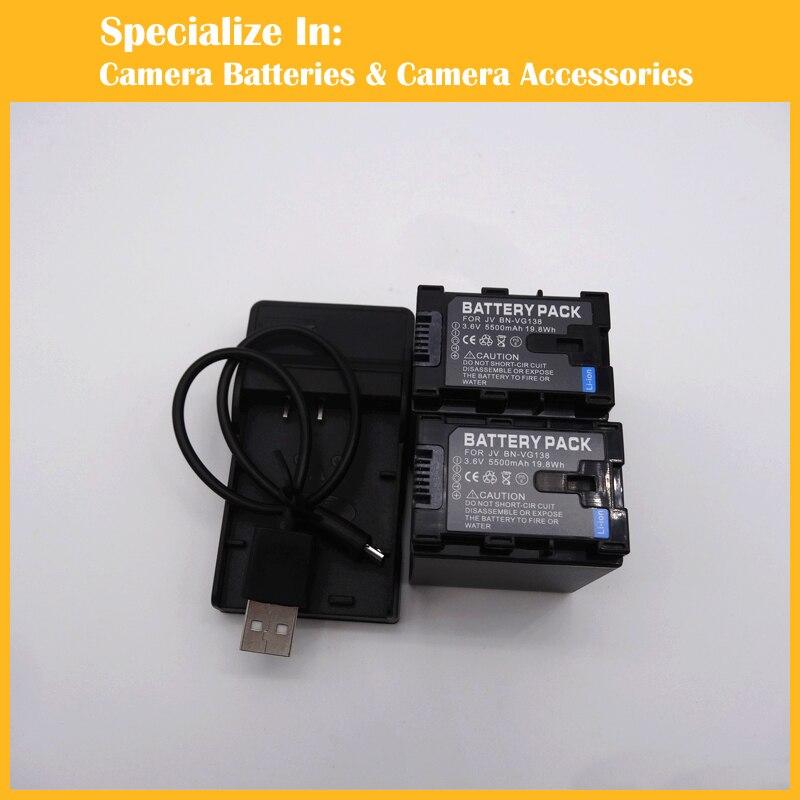 2pcs BN VG138 Battery charger set For JVC AA VG1 AA VG1E AA VG1EUM AA VG1U