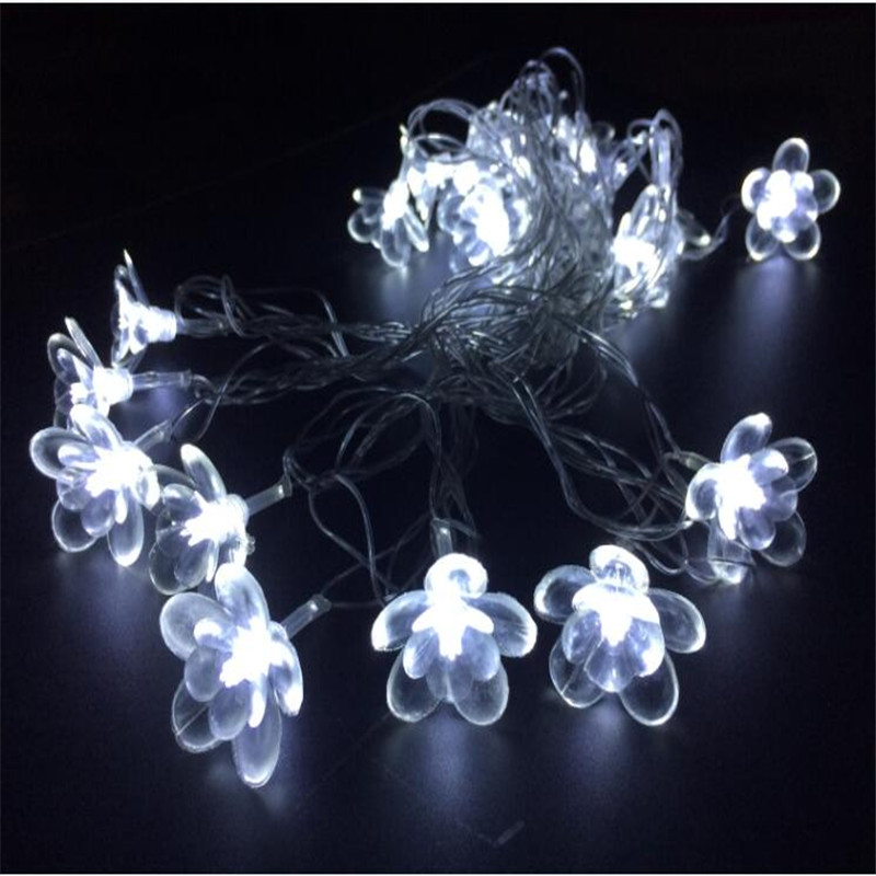 Warm White 10M 50 LED Lotus Flower Wedding Christmas Valentines day Decor String Lights Home Garden Decorations navidad