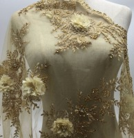 Heavy handmade beaded African French Lace Fabric with 3D flowers on Tulle embroidery bridal wedding dress Lace Fabrics