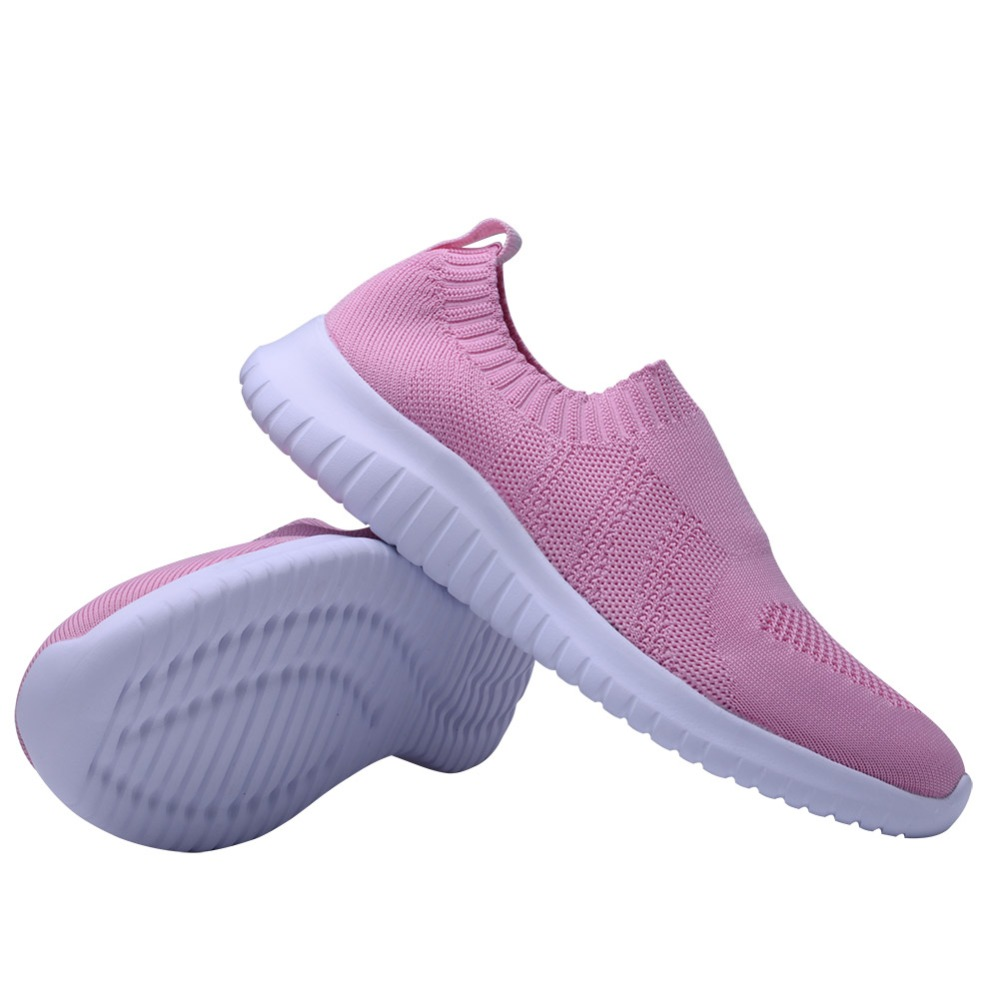 TIOSEBON Casual Knit Pattern Soft Bottom Women Shoes Slip-On Lightweight Sport Running Shoes Walking Workout Sneakers Female