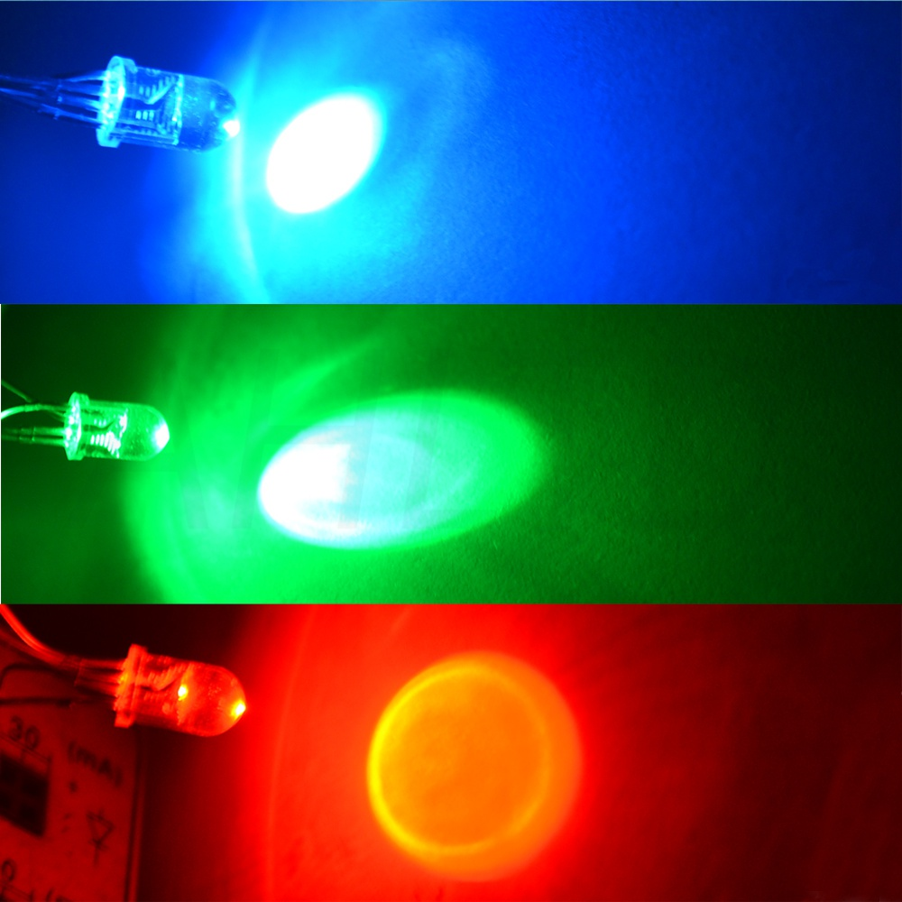 Ahltd 100X Ultra-Bright Round Tri-Color water clear 4pin F5 5mm RGB Common Anode LED Red Green Blue Emitting Diodes Led Lamp Bulb