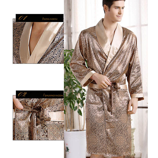Pijamas Male 2016 New Real Men Luxury Bathrobe Geometric Robes V-neck  Imitation Silk Knitted 5d4c58799