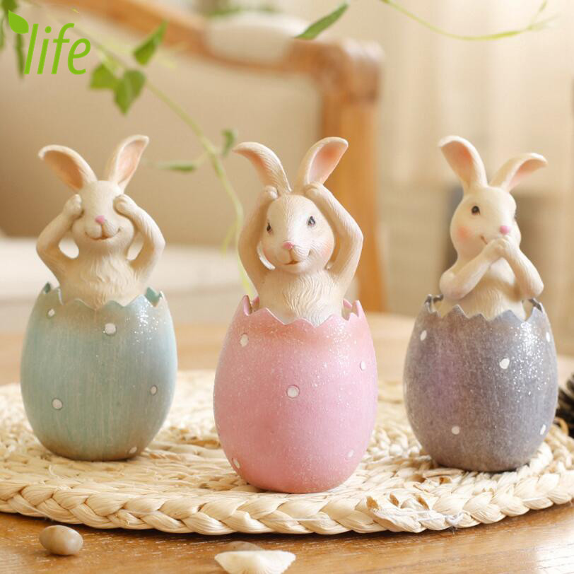 Don't Rabbits With Egg Lovely Easter Bunny Festival Gift Home Decoration Rabbit Figurines Artware 1 Piece Free Shipping